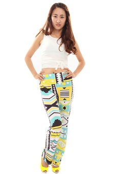 HengSong Casual Loose Straight Trousers Floral Print Pants (Multicolor)