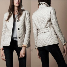 HengSong Fashion Women Ladies Thicken Warm Winter Buttons Small Coat Plus Size White - Intl