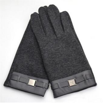 HengSong pria sarung tangan layar sentuh Smartphone SMS peregangan jari penuh musim dingin hangat dewasa sarung
