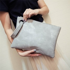 HengSong Women Ladies PU Leather Vintage Zipper Envelope Solid Clutch Bag Grey - intl