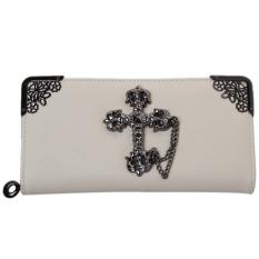 Hengsong Women Long Purse Retro Crucifix Wallet Clutch Zip Bag Card Holder Handbag Beige