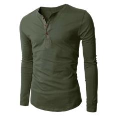 Hequ Men's 3 Button Long Sleeve T-shirt (Army Green) (Intl)