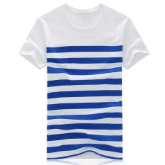 Hequ Men's Short Sleeved Striped T-shirt (Blue)
