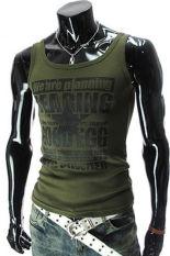 Hequ Mens Sports Letters Sleeveless Undershirt Tank T-Shirt (Army Green) (Intl)