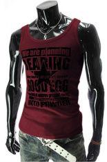 Hequ Mens Sports Letters Sleeveless Undershirt Tank T-Shirt (Burgundy) (Intl)