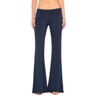 Hequ Women Casual Soft Bell-bottoms Pants Navy