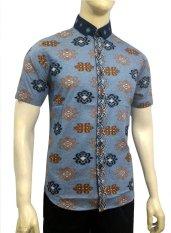 Herman Batik B7837 Baju Kemeja Pria Slimfit Fashion Jeans Muslim Koko Batik