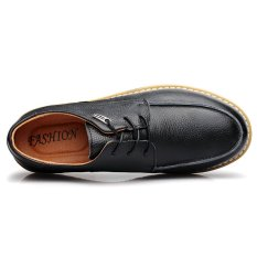 High Quality Casual Men Genuine Leather Shoes Height Increasing Work Shoes (Deep_Blue) (Intl)