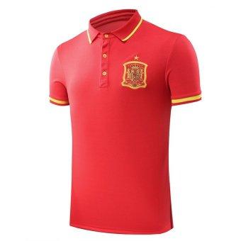 High Quality Spain Football Short Sleeve Summer Soft Men POLO Shirt (Intl)