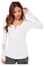 HKS Womens T Shirt Lace Patchwork Long Sleeve White (Intl)