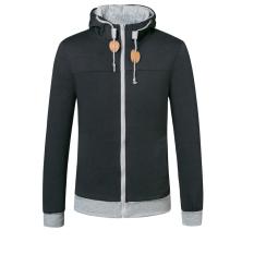 Hooded Hoodie Fleece Hoodie Velour Cardigan Coat Jacket Sport Suit Casual Fashion Men's Clothing Navy - Intl