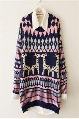 Hot Fashion Women Ladies O-Neck Long Sleeve Thick Knitting Reindeer-Pattern Sweater Shirt (Navy Blue)
