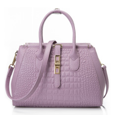 Hot Sale 2016 New Fashion CROCO Women Handbags Bucket Genuine Leather Bag Woman Leather Handbags Women Shoulder Bag Casual Tote (Purple)