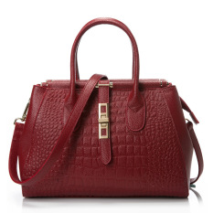 Hot Sale 2016 New Fashion CROCO Women Handbags Bucket Genuine Leather Bag Woman Leather Handbags Women Shoulder Bag Casual Tote (Red)