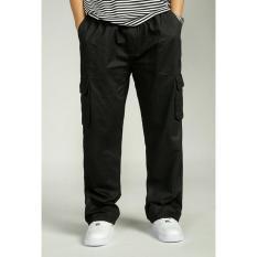 Hot Sale 2017 Men's Summer Plus Size Cargo Pants Brand New Casual Men's Pockets Baggy Pants XXL (Black) - Intl