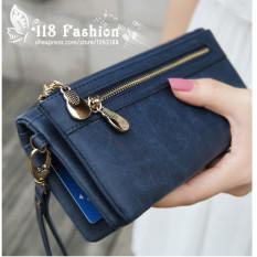 Hot Sale Fashion Women Wallets 9 Colors Matte PU Leather DoubleZipper Soft Wallet Ladies Long Day Clutch Coin Purse Card Holder - Intl