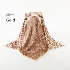 Hot Sale Gold 2017 New Design Women Polyester Silk Big Square Silk Scarf 90*90cm