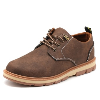 [HOT SALE] Men's classical safety shoes low cut Martin boots outdoor casual shoes(Brown) - intl