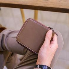 Hot Sales 2017 Horizontal Cowhide Leather Coin Holders Large Capability Business Wallet Double-deck Card Holders(Coffee) - intl