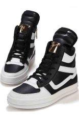 Hot Selling Fashion Men's Korean Shoes Tongue Trend Pu Leather Sports Skateboard Dancing Shoes Black White (Intl)