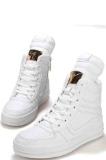 Hot Selling Fashion Men's Korean Shoes Tongue Trend Pu Leather Sports Skateboard Dancing Shoes White (Intl)