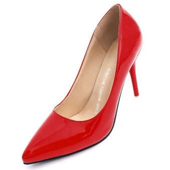 Hot Women High Heels Wedding Pointed Toe OL Stilettos Patent Leather Lady Shoes D90 Red - intl