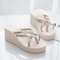 【HOT】Korean Fashion style High-heel Girl's sandals & flip-flops (Beige) - intl