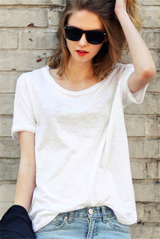 Hotyv European Fashion Long Sleeve O-neck Slub Cotton Casual T-shirt HTS025 White