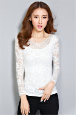 Hotyv Korean Elegant Long Sleeve Embroidery Lace Hollow Out Casual T-shirt HTS024 White