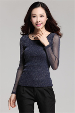 Hotyv Korean Luxury Long Sleeve Shiny Mesh Patchwork Slim T-shirt HTS010 Blue (Intl)