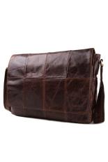 Huolala Genuine Cowhide Leather Messenger Bags (Brown) (Intl) - Intl