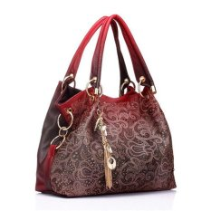 Ilife Hollow Women Leather Vintage Large Shoulder Tote Gradient Desigual Handbags Women Famous Brands Messenger Bag (Red)