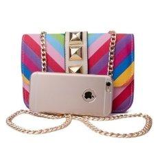 Ilife Luxury Small Rainbow Bag Ladies Handbag with Chain Rivet Crossbody Bag For Women Shoulder Bag Summer Colorful Beach Bag Female