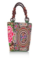 IlifeChinese National Style Embroidery Bags Women Fashion Handbags Casual Embroidered Shoulder Bag Wood Beads Travel Shopping Bag