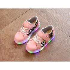 Import Sepatu Sneaker Lampu LED anak perempuan - Pink