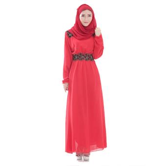Islamic Women Newsletter Striped Long Sleeve Arab Robe Muslim Party Dress (Red)