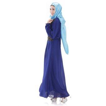 Islamic Women Newsletter Striped Long Sleeve Arab Robe Muslim Party Dress(Royal Blue)