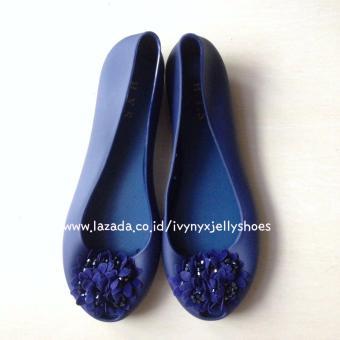 Ivynyx Jelly Shoes - Jelly Shoes Flower - Warna Biru