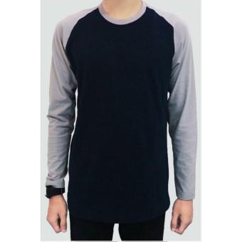 Jackdow - DLA12 Kaos raglan lengan panjang cool colour - Navy & Grey