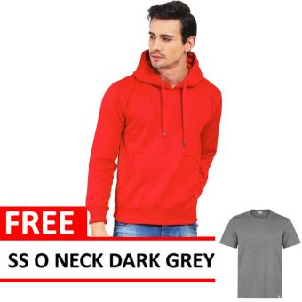 Jacket Oblong Pullover Hoodie Red Free SS O Neck Dark Grey