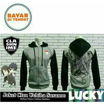 Jaket Anime Hoodie Zipper Naruto Sasuke Uchiha Susanoo Black Grey Best Seller