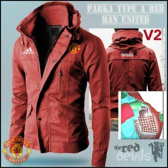Jaket Parka Bola Pria-Manchester United-Merah
