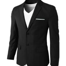 Jas Pria Formal Double Button Slim Fit - Hitam