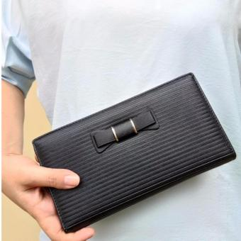 JCF Multifungsi Dompet Clutch Wanita Fashion Branded PU Leather Import - Alice Black Bagus Dan Mewah High Quality