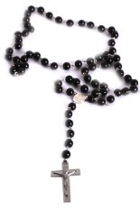 Jewelry Mens Cross Pendant Black Rosary Beads Necklace Black