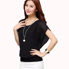 Jfashion Blus Chiffon Gaya Korea Tanpa Lengan model Wing