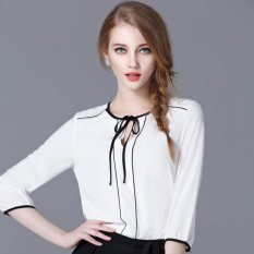 Jfashion Korean Style Blouse Kombinasi Tali - Selena Putih
