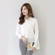 Jfashion Korean Style Plain Shirt Long SLeeve - Ummi Putih