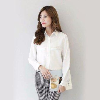 Jfashion Korean Style Plain Shirt Long SLeeve - Ummi Putih
