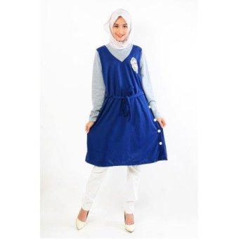 Jfashion Midi Dress Two tones Simpel Elegan - Priscilla Biru